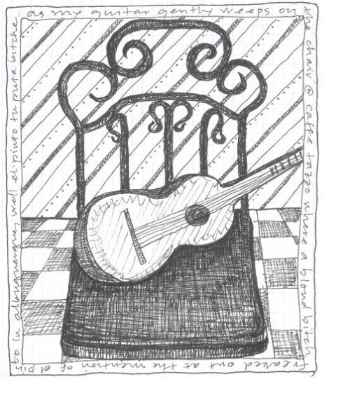 Doodling guitar on chair or is it chair with guitar