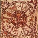 Zodiac in a 6th century synagogue at Beit Alpha, Israel. Photo public domain.