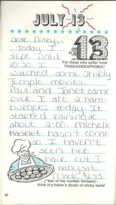 July 13, 1974 summer diary, all rights reserved, ybonesy 2007