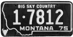 Montana license plate from Montana Official State Travel Information Site, credit to Montana Historical Society