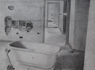 Arm with bathtub, drawing by ybonesy 1983, © 2007 by ybonesy, all rights reserved