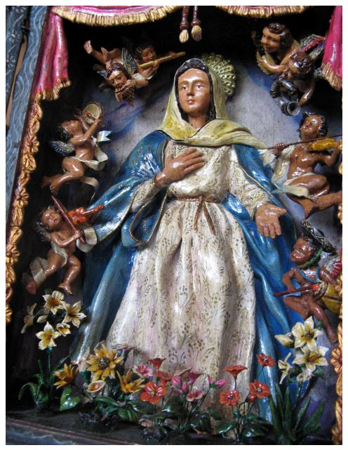 Santisima, photograph of folk retablo made by Ecuadoran santero Jiminez, ybonesy 2007, all rights reserved