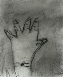 Small hand, charcoal sketch by Em, August 2007