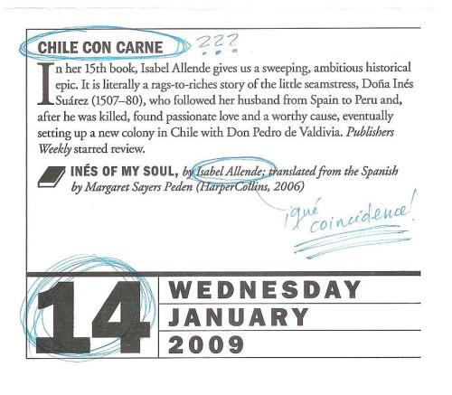 Chile con carne, January 14th page from the Page-A-Day 2009 Book Lover's Calendar, featuring Isabel Allende