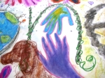 dee and me (two), detail from a mural created by our Mother-Daughter group