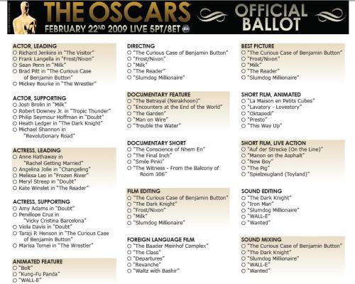 The Oscars Official Ballot, found at www.oscar.com