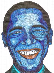 "My original ""quick and dirty"" Obama doodle, pen and ink on graph paper. I enlarge it to fit my canvas and drew the outline onto tracing paper."