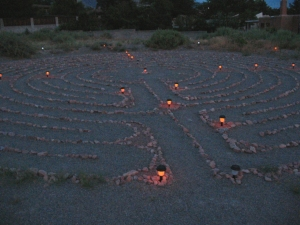 Solar lit labyrinth. The labyrinth awaits my slow, meandering pace. July 2007 © photo 2007-2007 by Lesley Goddin. All rights reserved.