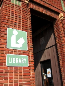 Minneota's library, the librarians would call Bill Holm, and he'd walk there to sign books for the tourists, March 2009, photo © 2009 by Teri Blair, all rights reserved