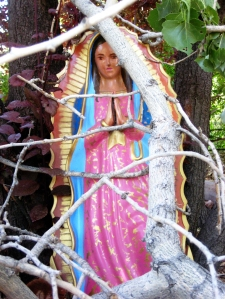 Spared, a Virgin Mary statue that my aunt Olivia painted for me, barely missed being crushwed when a tree branch broke from a storm, photo 2008-2009 by ybonesy, all rights reserved