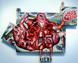 "El Bruto, mixed media on wood, 59"" x 72"" x 8"", 2009, painting © 2009 by Cathy Wysocki, all rights reserved"