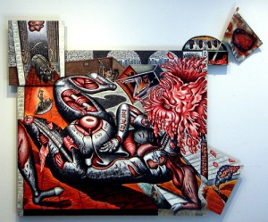 "Unrelenting, mixed media on wood, 61"" x 72"" x 3"", 2009, painting © 2009 by Cathy Wysocki, all rights reserved"