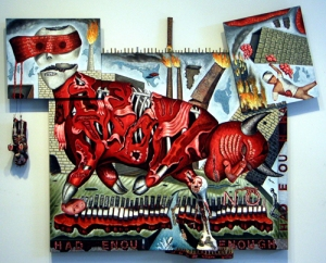 "Enough, mixed media on wood, 50"" x 63"" x 7"", 2008/2009, painting © 2008-2009 by Cathy Wysocki, all rights reserved"