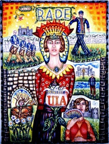 "Count Rade and Princess Ula, mixed media on canvas, 24"" x 18"", 2002, painting © 2002-2009 by Cathy Wysocki, all rights reserved"
