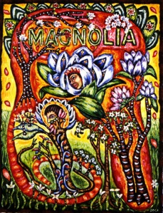 "Magnolia, mixed media on canvas, 18"" x 14"", 2001, painting © 2001-2009 by Cathy Wysocki, all rights reserved"