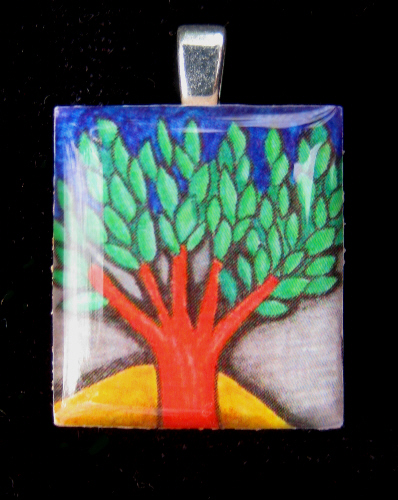 Tree Pendant, domed resin pendant using ybonesy doodle, image and doodle © 2009 by ybonesy, all rights reserved