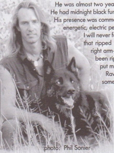 Raven and Sanctuary Director Leyton Cougar, image reprinted with permission from Wild Spirit Wolf Sanctuary, photo © 2009 by Phil Sonier, all rights reserved